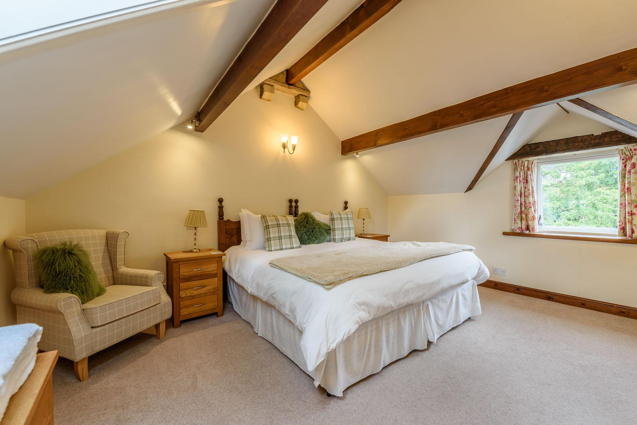 Bedroom with village views