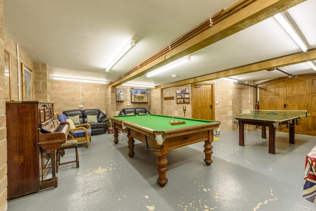 Large games room, lower ground floor (garage)